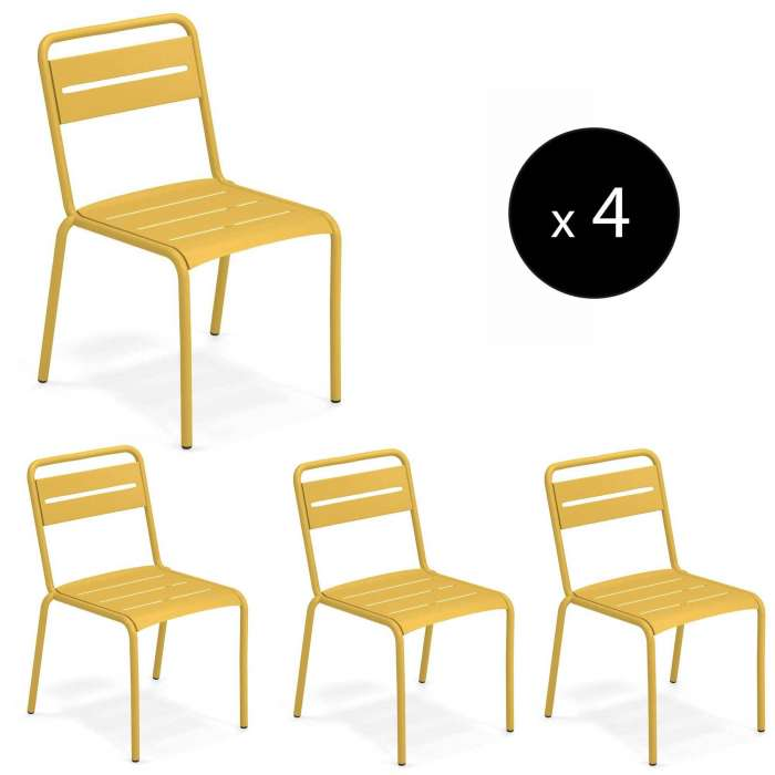 Lot de 4 chaises outdoor STAR / H. 81 cm / 7 coloris