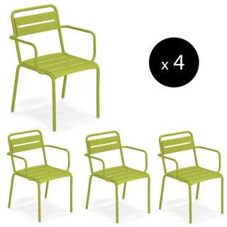 Lot de 4 fauteuils outdoor STAR / H. 81 cm / 7 coloris
