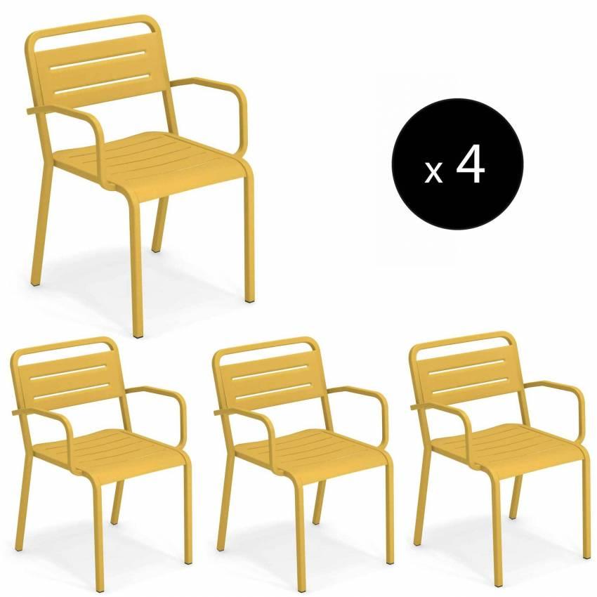 Lot de 4 fauteuils de jardin URBAN / H. 81 cm / 7 coloris