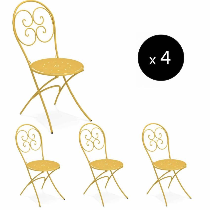 Lot de 4 chaises pliantes d'extérieur PIGALLE / H. 88 cm / 7 coloris
