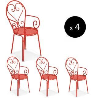 Lot de 4 fauteuils d'extérieur PIGALLE / H. 88 cm / 7 coloris