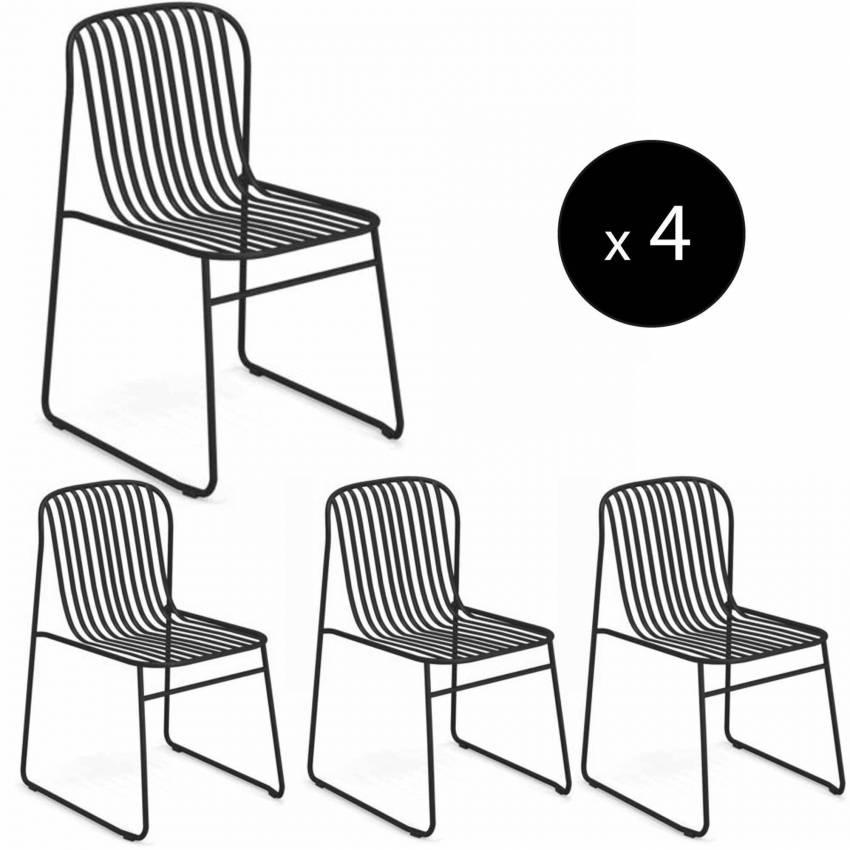 Lot de 4 chaises d'extérieur RIVIERA / H. 78 cm / 6 coloris