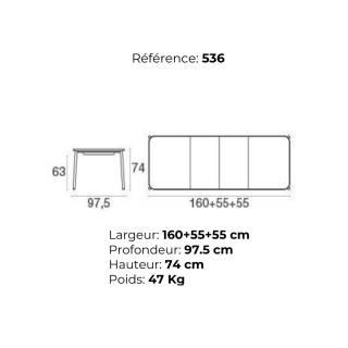 Table extensible de jardin YARD /H. 74 cm / 4 coloris