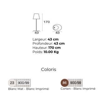 Lampadaire d'extérieur CONE / H. 1,70 m / 2 coloris