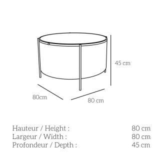 Table basse EMBORE / H. 80 cm / Gris