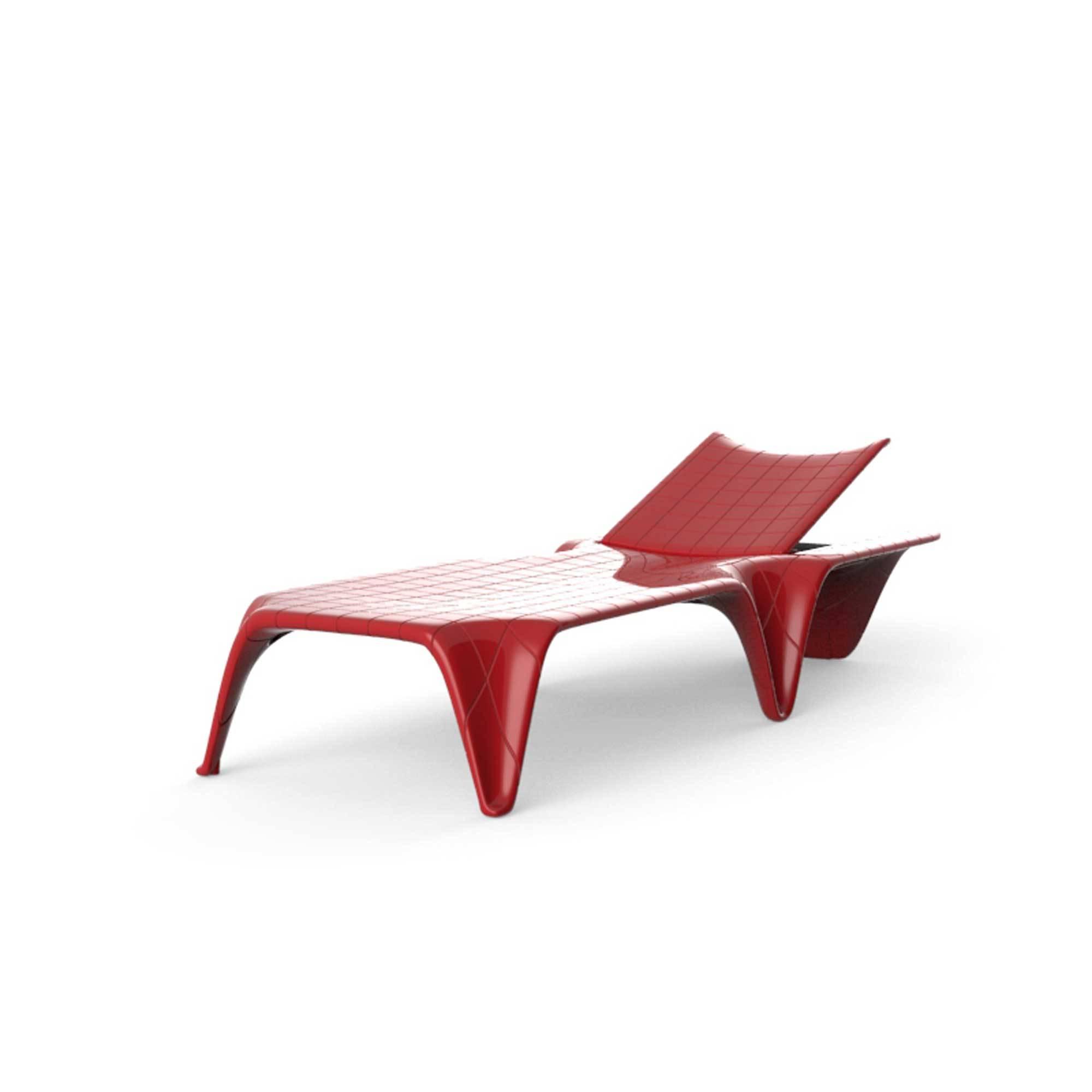 Chaise longue rouge laqué F3 Longueur 2,10 m VONDOM