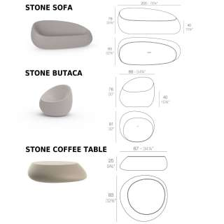 Table basse outdoor STONES / H. 25 cm / Anthracite