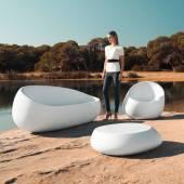Fauteuil outdoor STONES / L. 88 cm / Blanc
