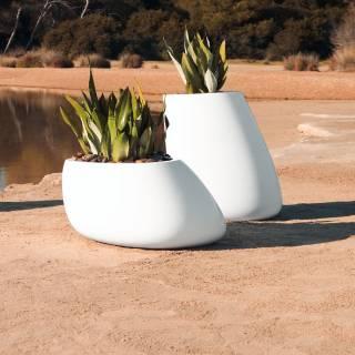 Pot de fleur outdoor STONES / H. 70 cm / Blanc