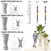 Pot de jardin SUAVE / H. 65, 100 ou 150 cm / Taupe