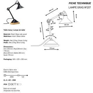 Lampe de chevet GRAS / H. 22 cm / Noir