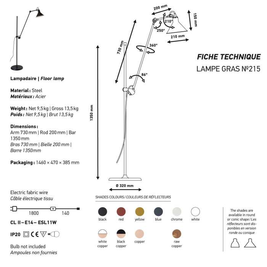Lampadaire GRAS / H. 73 cm / 6 coloris