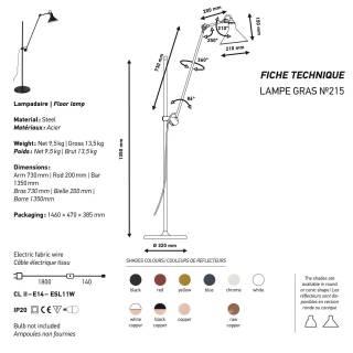 Lampadaire GRAS N°215 / H. 1,35 m / Blanc / Int Bronze