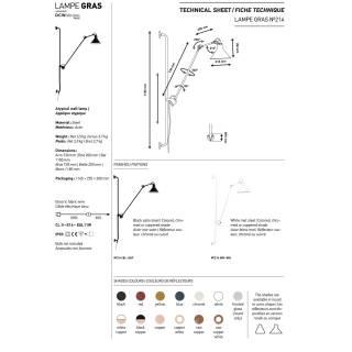 Applique GRAS N°214 / H. 1,18 m / Laiton Vieilli