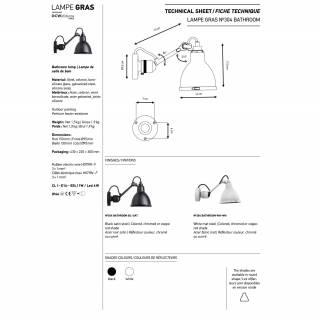 Applique GRAS BATHROOM N°304 / L. 15 cm / Noir et Blanc