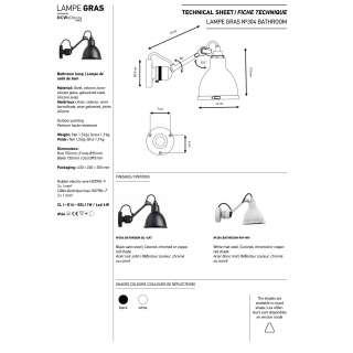 Applique GRAS BATHROOM N°304 / L. 15 cm / Noir
