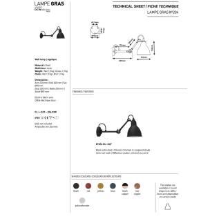 Applique liseuse GRAS N°204 / L. 22 cm/ Noir / Int Bronze