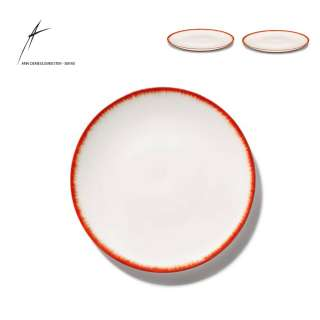 Lot de 2 assiettes DÉ en porcelaine / 4 dimensions / Blanc et Rouge
