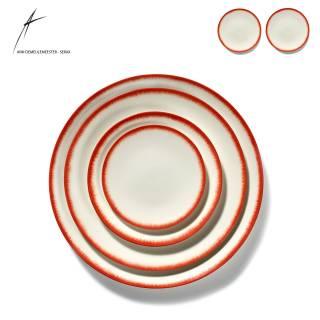 Lot de 2 assiettes DÉ en porcelaine / 4 dimensions / Blanc et Rouge