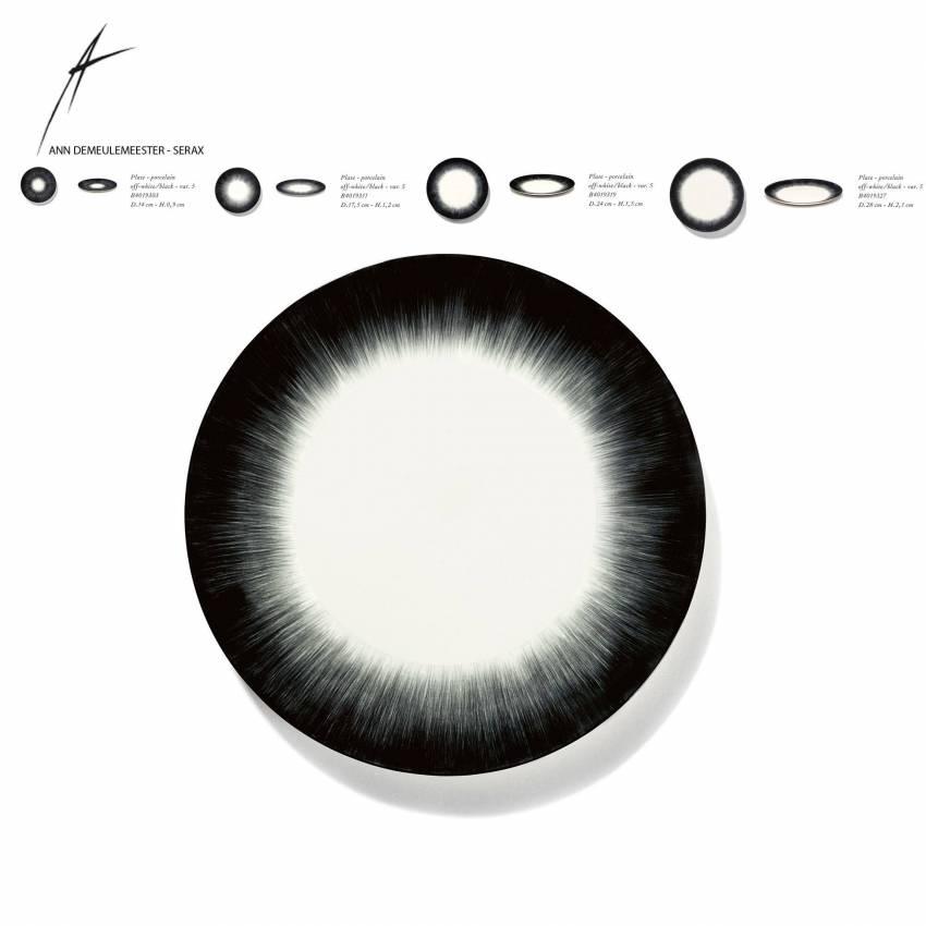 Lot de 2 assiettes DÉ en porcelaine / 4 dimensions / Blanc et Noir