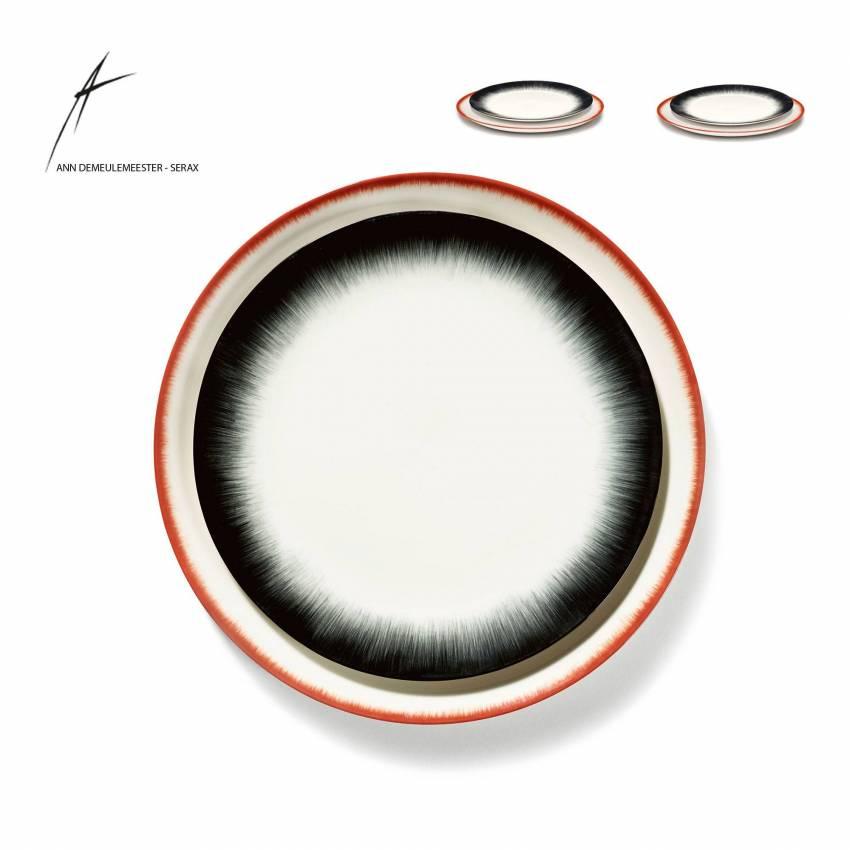 Combinaison de 2 assiettes DÉ en porcelaine / 2 dimensions / Noir et Rouge