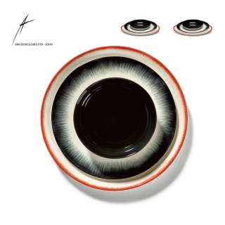 Combinaison de 2 assiettes et 1 bol DÉ en porcelaine / 3 dimensions / Noir et Rouge