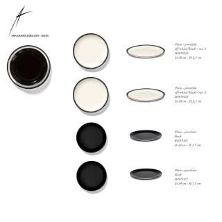 Combinaison de 2 assiettes DÉ en porcelaine / 2 dimensions / Noir et Blanc