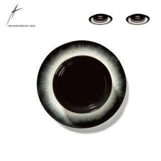 Combinaison de 1 assiette et 1 bol DÉ en porcelaine / 2 dimensions / Noir et Blanc