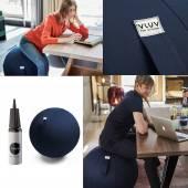 Assise ergonomique BALLON VLUV / Tissu Leiv Royal Blue / Ø65 ou Ø75
