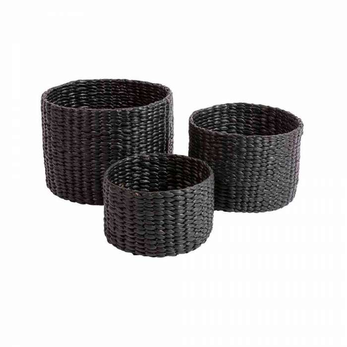 Lot de 3 paniers WATER HYACINTH ROUND / 3 dimensions / Noir