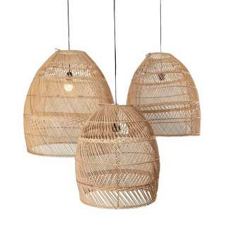 Lot de 3 suspensions MOON / 3 dimensions / Rotin Naturel