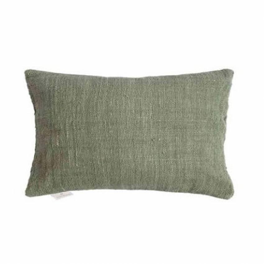 Coussin rectangle tissé main / Coton / Vert