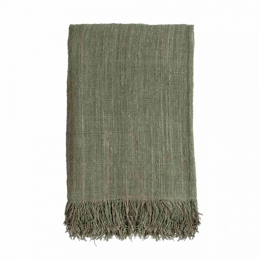 Plaid tissé main / Coton / Vert