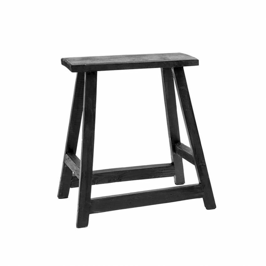 Tabouret CHINESE RECTANGLE CHAIR / H. 55 cm / Bois Recyclé Noir