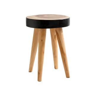 Tabouret ORGANIC STOOL / H. 45 cm / Bois Recyclé Noir