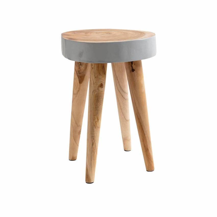 Tabouret ORGANIC STOOL / H. 45 cm / Bois Recyclé Gris