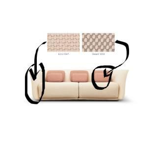 Canapé 2 places SUAVE / Beige / Coussin Rose
