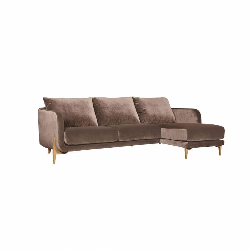 Canapé angle JENNY / 2 ou 3 places / Tissu Velours