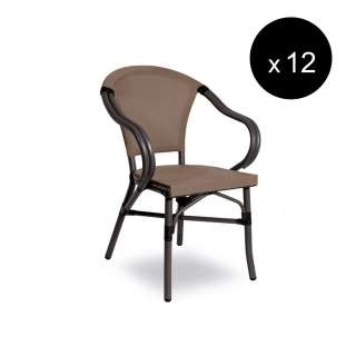 Fauteuil d'extérieur SIENA / H. assise 45 cm / Anthracite et Taupe