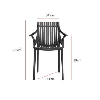 MAUD Lot de 4 Chaises avec accoudoir IBIZA / H. assise 45 cm / Noir