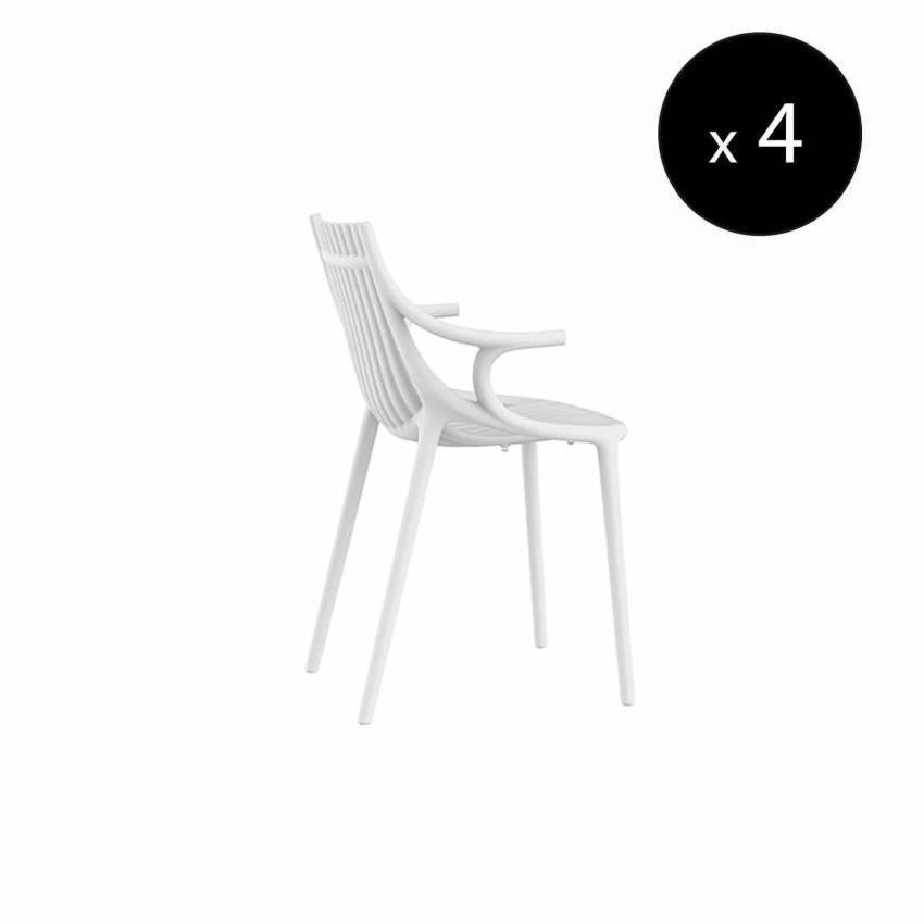 MAUD Lot de 4 Chaises avec accoudoir IBIZA / H. assise 45 cm / Blanc