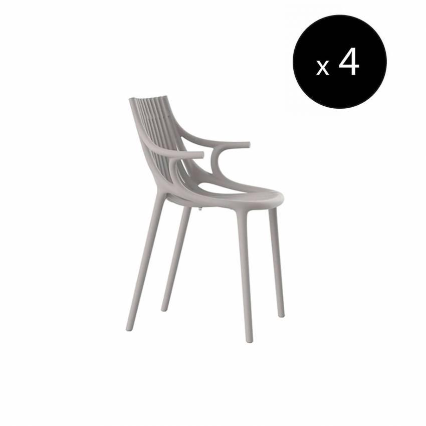 MAUD Lot de 4 Chaises avec accoudoir IBIZA / H. assise 45 cm / Écru