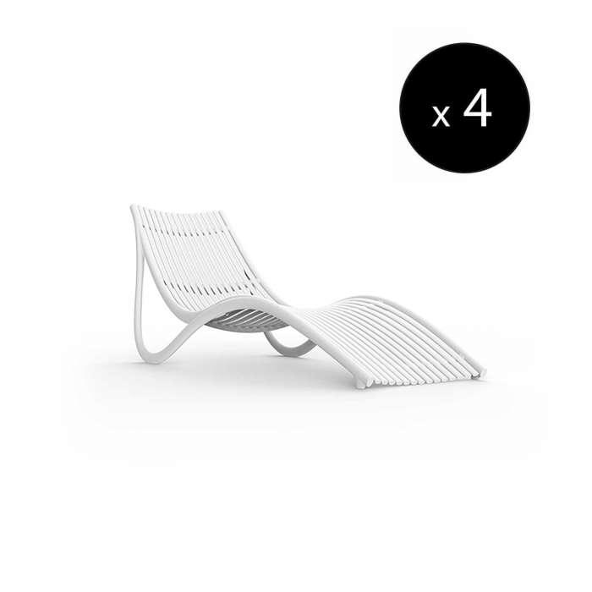 MAUD Lot de 4 Chaises longue IBIZA / L. 1,77 m / Blanc