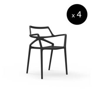 MAUD Lot de 4 Chaises outdoor DELTA / H. assise 46 cm / Noir