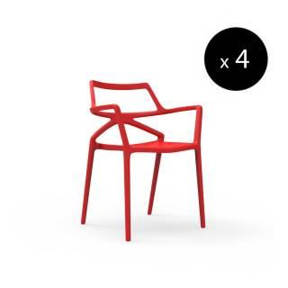 MAUD Lot de 4 Chaises outdoor DELTA / H. assise 46 cm / Rouge