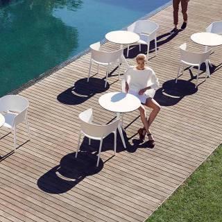 MAUD Lot de 4 Fauteuils AFRICA / H. assise 45 cm / Blanc