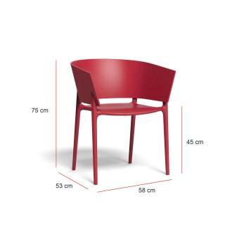 MAUD Lot de 4 Fauteuils AFRICA / H. assise 45 cm / Rouge