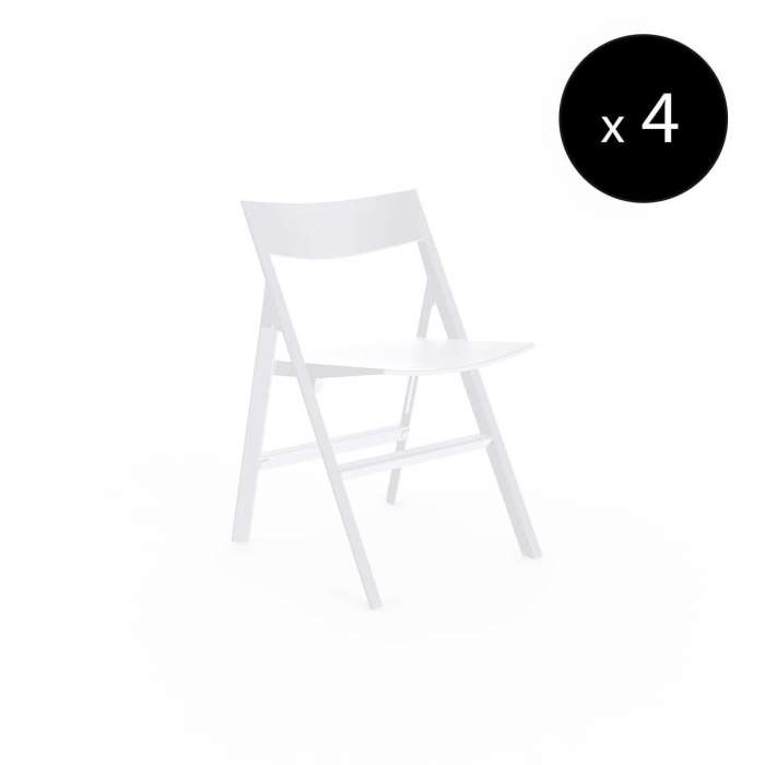 MAUD Lot de 4 Chaises pliantes QUARTZ / H. assise 45 cm / Blanc