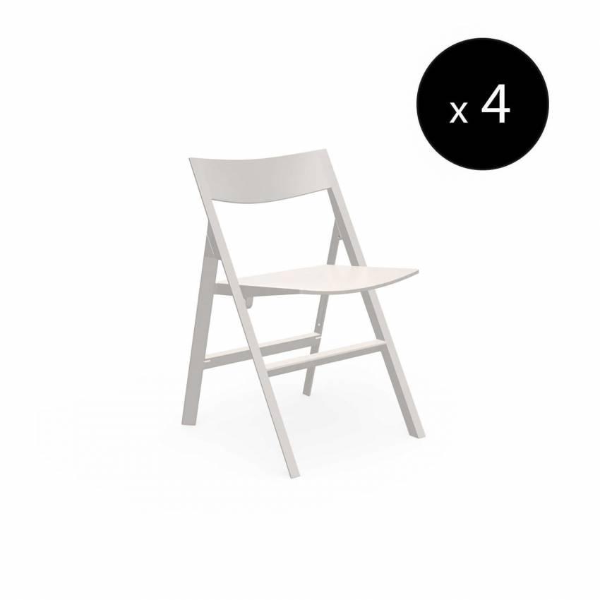 MAUD Lot de 4 Chaises pliantes QUARTZ / H. assise 45 cm / Écru