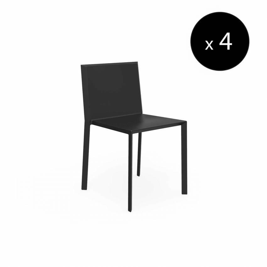 MAUD Lot de 4 Chaises QUARTZ / H. assise 45 cm / Noir